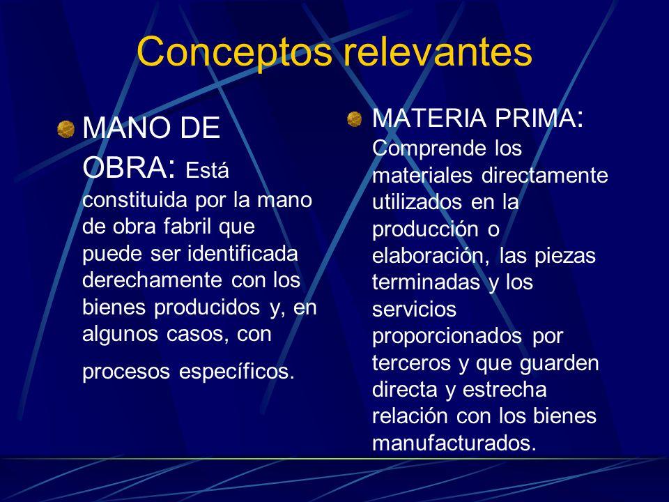 Conceptos relevantes MANO DE OBRA : Está constituida por la mano de obra fabril que puede ser identificada derechamente con los bienes producidos y, e