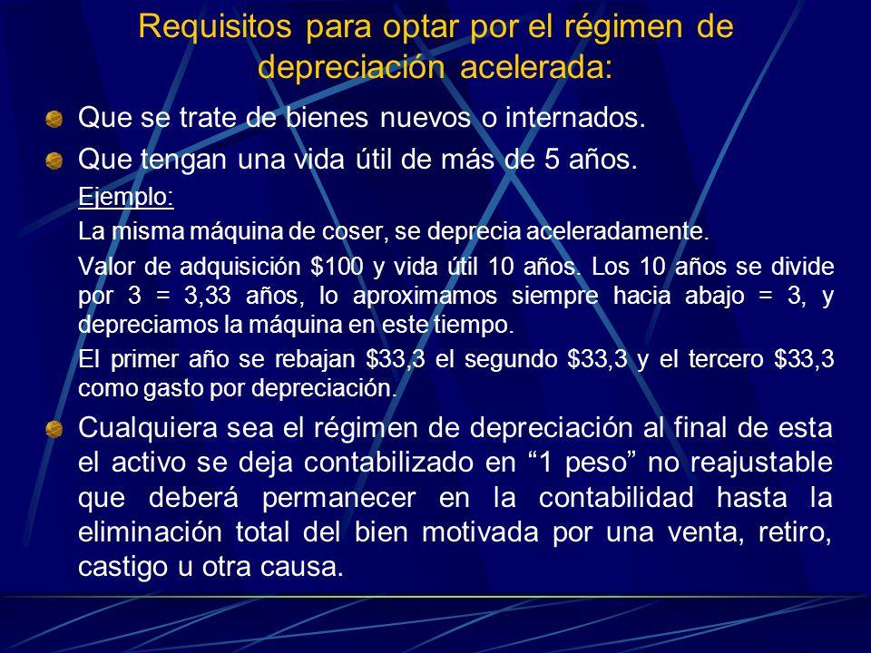 Requisitos para optar por el régimen de depreciación acelerada: Que se trate de bienes nuevos o internados. Que tengan una vida útil de más de 5 años.