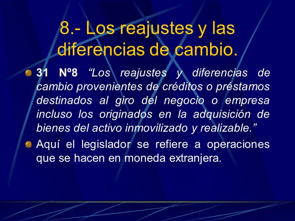 8.- Los reajustes y las diferencias de cambio. 31 Nº8 Los reajustes y diferencias de cambio provenientes de créditos o préstamos destinados al giro de