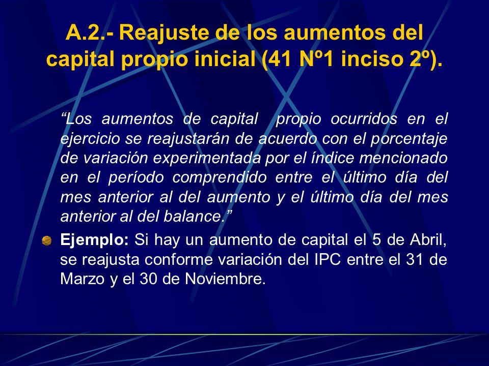 A.2.- Reajuste de los aumentos del capital propio inicial (41 Nº1 inciso 2º). Los aumentos de capital propio ocurridos en el ejercicio se reajustarán