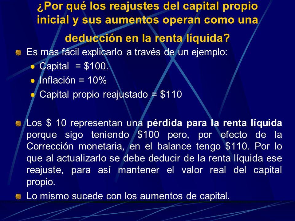 ¿Por qué los reajustes del capital propio inicial y sus aumentos operan como una deducción en la renta líquida? Es mas fácil explicarlo a través de un
