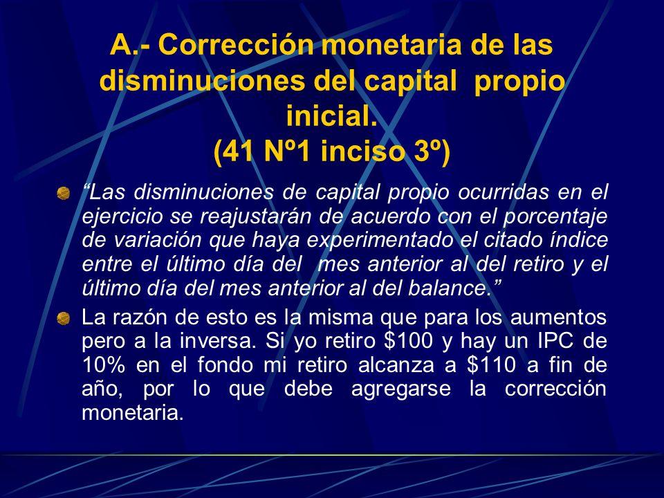 A.- Corrección monetaria de las disminuciones del capital propio inicial. (41 Nº1 inciso 3º) Las disminuciones de capital propio ocurridas en el ejerc