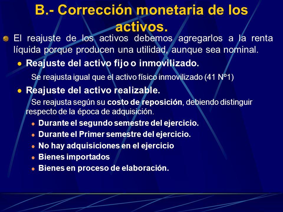 B.- Corrección monetaria de los activos. El reajuste de los activos debemos agregarlos a la renta líquida porque producen una utilidad, aunque sea nom