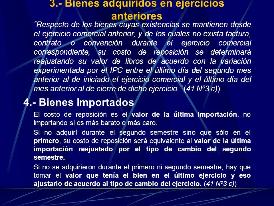 3.- Bienes adquiridos en ejercicios anteriores Respecto de los bienes cuyas existencias se mantienen desde el ejercicio comercial anterior, y de los c