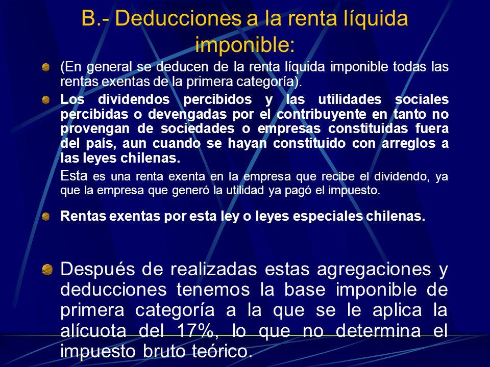 B.- Deducciones a la renta líquida imponible: (En general se deducen de la renta líquida imponible todas las rentas exentas de la primera categoría).