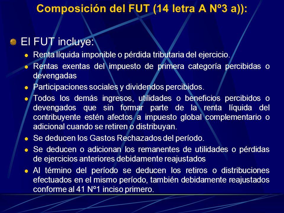 Composición del FUT (14 letra A Nº3 a)): El FUT incluye: Renta líquida imponible o pérdida tributaria del ejercicio. Rentas exentas del impuesto de pr