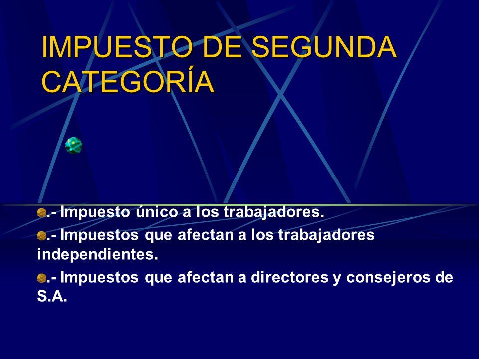 IMPUESTO DE SEGUNDA CATEGORÍA.- Impuesto único a los trabajadores..- Impuestos que afectan a los trabajadores independientes..- Impuestos que afectan