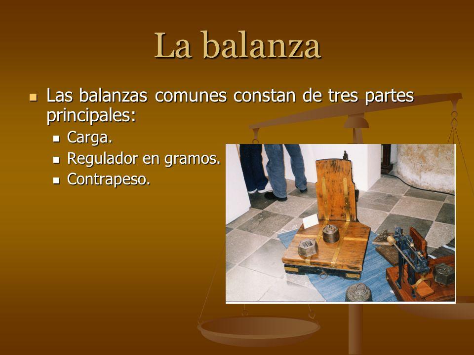 La balanza Las balanzas comunes constan de tres partes principales: Las balanzas comunes constan de tres partes principales: Carga. Carga. Regulador e