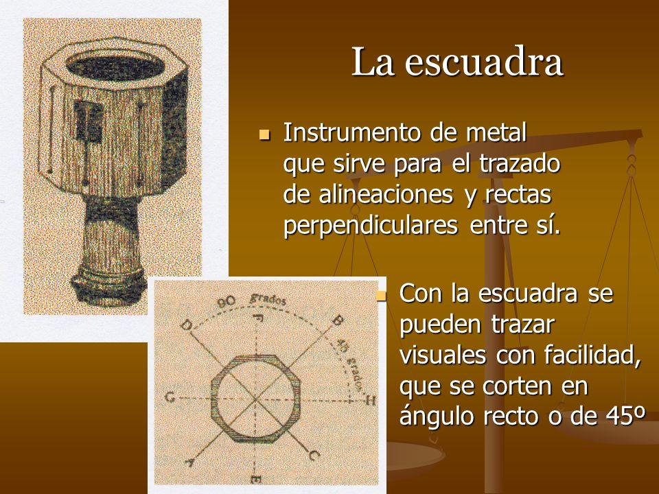La escuadra Instrumento de metal que sirve para el trazado de alineaciones y rectas perpendiculares entre sí. Instrumento de metal que sirve para el t