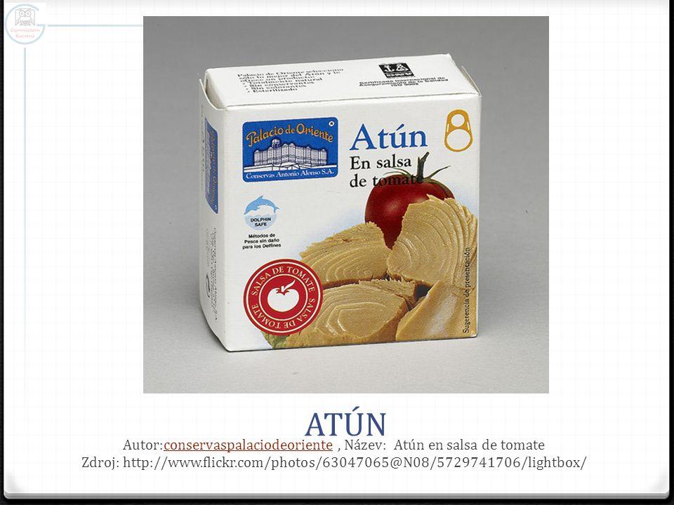 ATÚN Autor:conservaspalaciodeoriente, Název: Atún en salsa de tomate Zdroj: http://www.flickr.com/photos/63047065@N08/5729741706/lightbox/conservaspal
