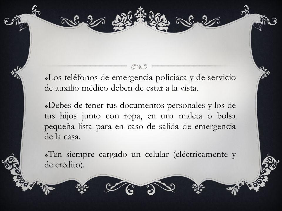 Los teléfonos de emergencia policiaca y de servicio de auxilio médico deben de estar a la vista. Debes de tener tus documentos personales y los de tus