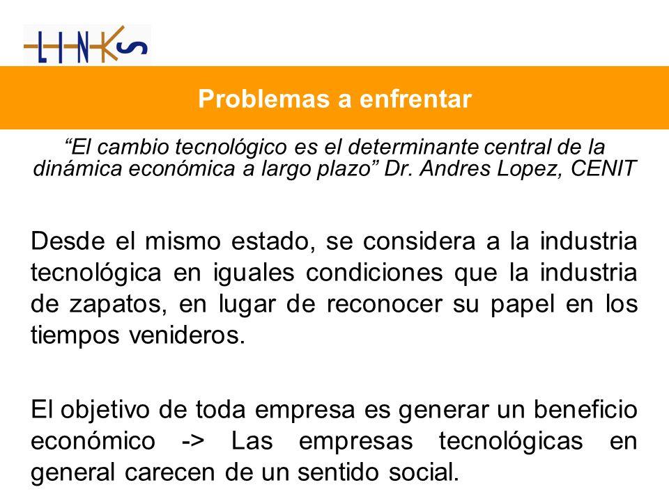 Problemas a enfrentar El cambio tecnológico es el determinante central de la dinámica económica a largo plazo Dr. Andres Lopez, CENIT Desde el mismo e