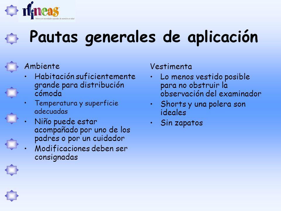 Pautas generales de aplicación Ambiente Habitación suficientemente grande para distribución cómoda Temperatura y superficie adecuadas Niño puede estar