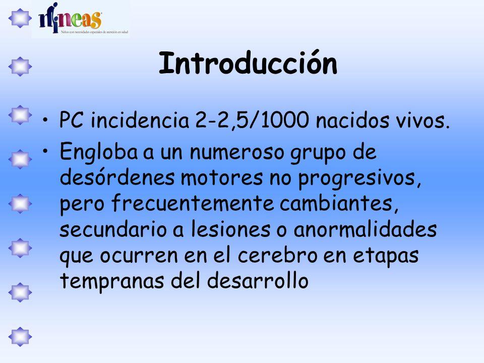 Introducción PC incidencia 2-2,5/1000 nacidos vivos. Engloba a un numeroso grupo de desórdenes motores no progresivos, pero frecuentemente cambiantes,