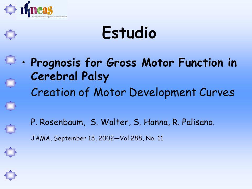 Estudio Prognosis for Gross Motor Function in Cerebral Palsy Creation of Motor Development Curves P. Rosenbaum, S. Walter, S. Hanna, R. Palisano. JAMA