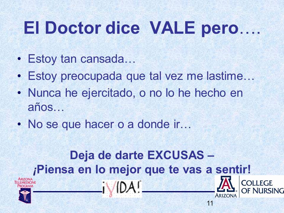 El Doctor dice VALE pero…. Estoy tan cansada… Estoy preocupada que tal vez me lastime… Nunca he ejercitado, o no lo he hecho en años… No se que hacer