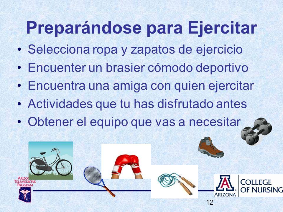 Preparándose para Ejercitar Selecciona ropa y zapatos de ejercicio Encuenter un brasier cómodo deportivo Encuentra una amiga con quien ejercitar Activ