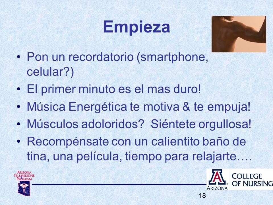 Empieza Pon un recordatorio (smartphone, celular?) El primer minuto es el mas duro! Música Energética te motiva & te empuja! Músculos adoloridos? Sién