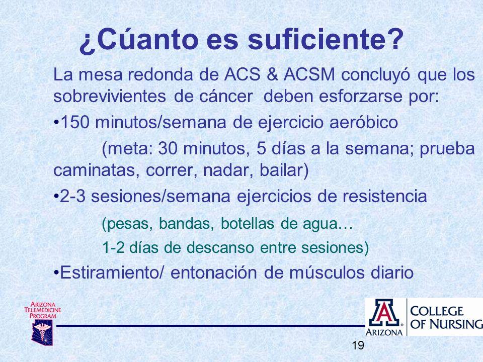 ¿Cúanto es suficiente? La mesa redonda de ACS & ACSM concluyó que los sobrevivientes de cáncer deben esforzarse por: 150 minutos/semana de ejercicio a