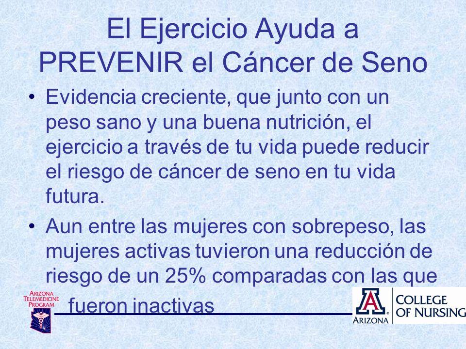 Evidencia creciente, que junto con un peso sano y una buena nutrición, el ejercicio a través de tu vida puede reducir el riesgo de cáncer de seno en t