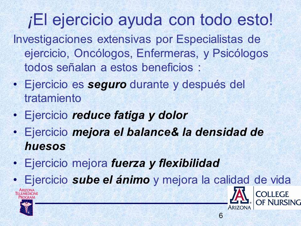 ¡El ejercicio ayuda con todo esto! 6 Investigaciones extensivas por Especialistas de ejercicio, Oncólogos, Enfermeras, y Psicólogos todos señalan a es