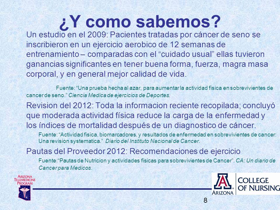 ¿Y como sabemos? Un estudio en el 2009: Pacientes tratadas por cáncer de seno se inscribieron en un ejercicio aerobico de 12 semanas de entrenamiento