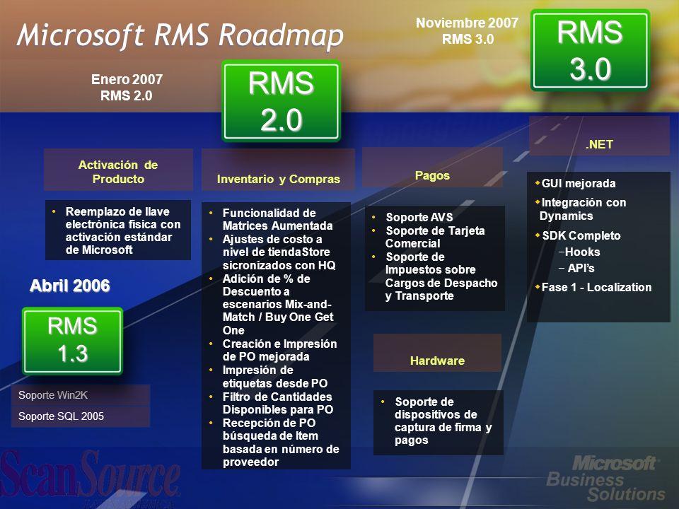 Microsoft RMS Roadmap Soporte Win2K Soporte SQL 2005 RMS 1.3 Funcionalidad de Matrices Aumentada Ajustes de costo a nivel de tiendaStore sicronizados con HQ Adición de % de Descuento a escenarios Mix-and- Match / Buy One Get One Creación e Impresión de PO mejorada Impresión de etiquetas desde PO Filtro de Cantidades Disponibles para PO Recepción de PO búsqueda de Item basada en número de proveedor Reemplazo de llave electrónica física con activación estándar de Microsoft Activación de Producto RMS 2.0 RMS 3.0 Inventario y Compras Pagos Hardware Soporte AVS Soporte de Tarjeta Comercial Soporte de Impuestos sobre Cargos de Despacho y Transporte Soporte de dispositivos de captura de firma y pagos.NET GUI mejorada Integración con Dynamics SDK Completo – Hooks – APIs Fase 1 - Localization Abril 2006 Enero 2007 RMS 2.0 Noviembre 2007 RMS 3.0