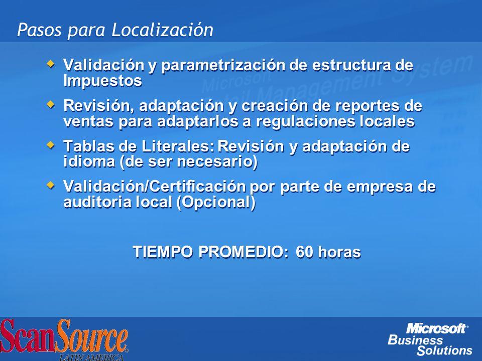 Pasos para Localización Validación y parametrización de estructura de Impuestos Revisión, adaptación y creación de reportes de ventas para adaptarlos