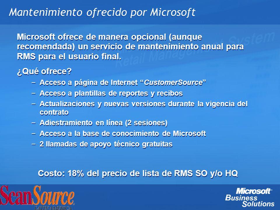 Mantenimiento ofrecido por Microsoft Microsoft ofrece de manera opcional (aunque recomendada) un servicio de mantenimiento anual para RMS para el usua