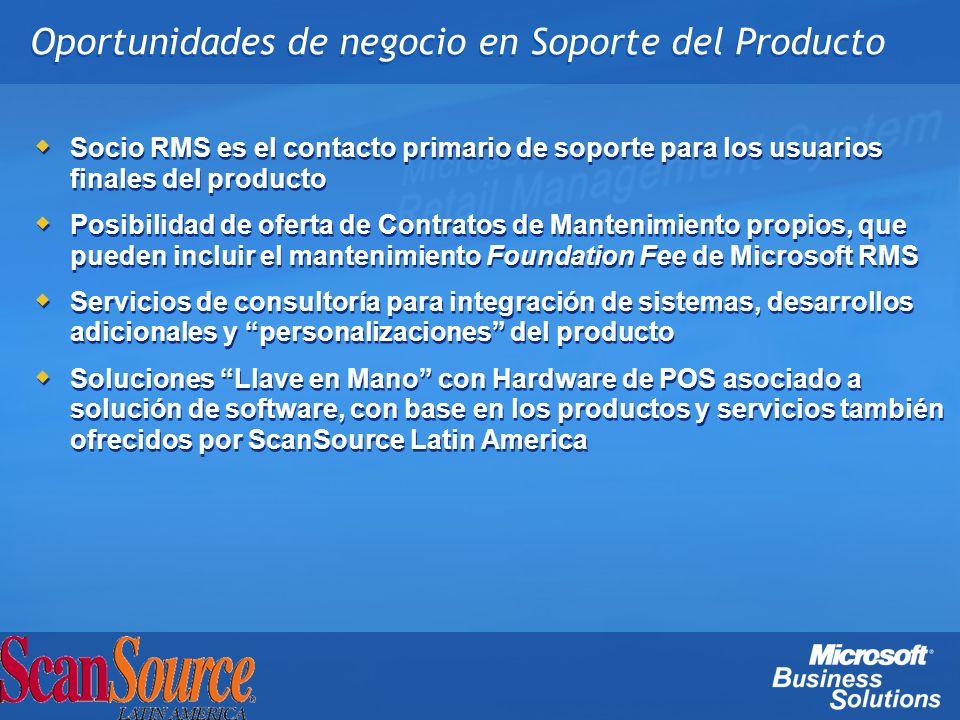 Oportunidades de negocio en Soporte del Producto Socio RMS es el contacto primario de soporte para los usuarios finales del producto Posibilidad de of