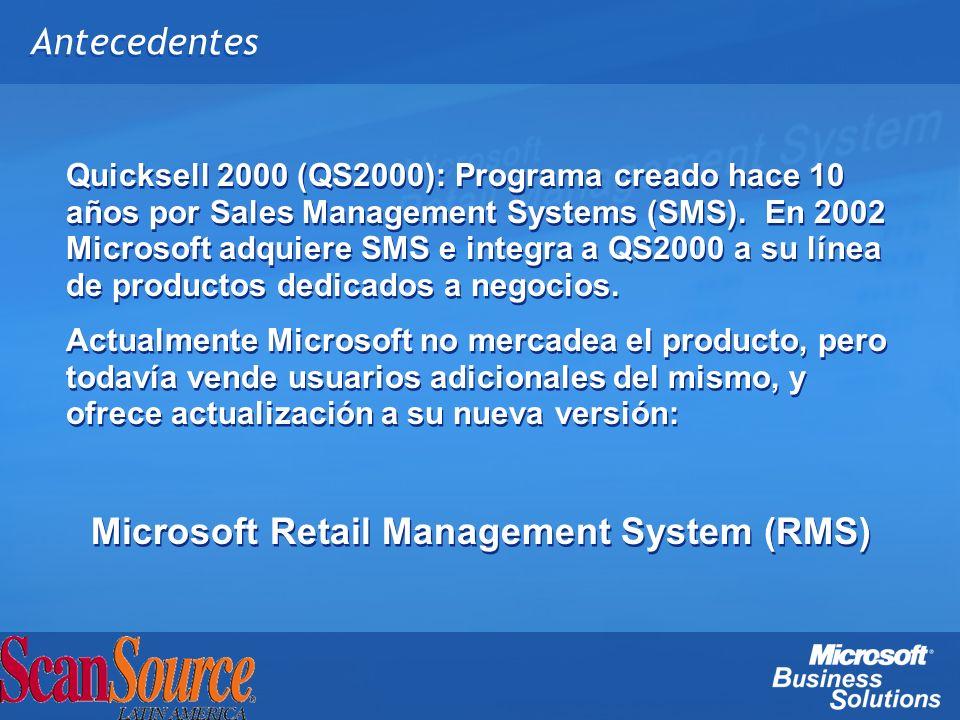 Antecedentes Quicksell 2000 (QS2000): Programa creado hace 10 años por Sales Management Systems (SMS). En 2002 Microsoft adquiere SMS e integra a QS20
