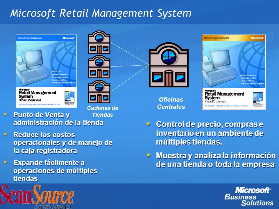 Microsoft Retail Management System Control de precio, compras e inventario en un ambiente de múltiples tiendas. Muestra y analiza la información de un