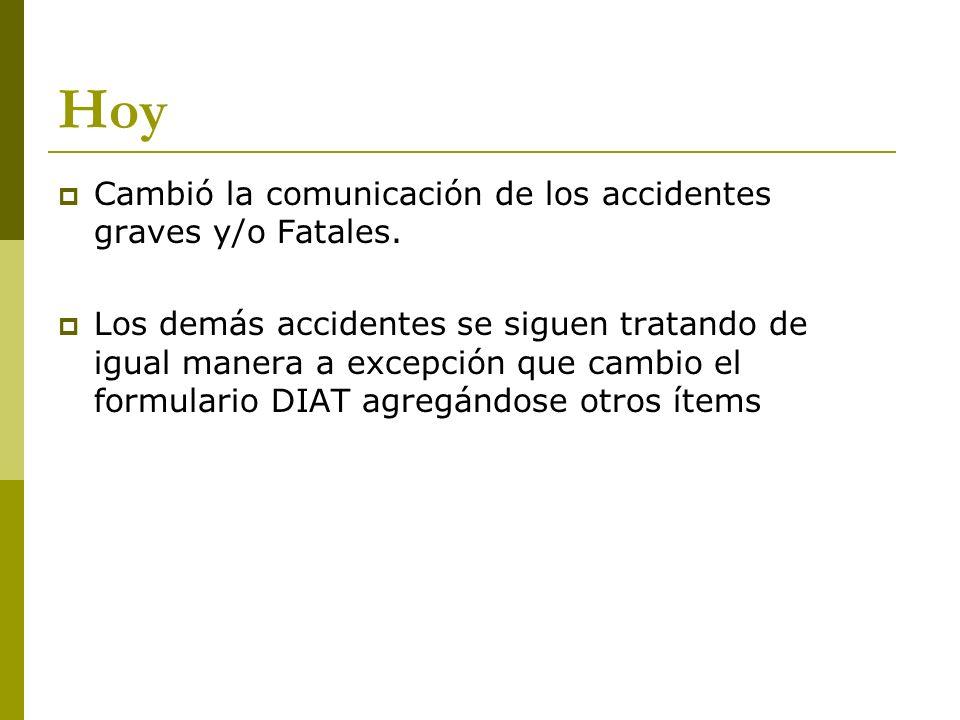 Hoy Cambió la comunicación de los accidentes graves y/o Fatales. Los demás accidentes se siguen tratando de igual manera a excepción que cambio el for