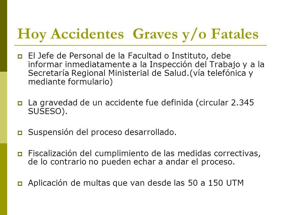 Hoy Accidentes Graves y/o Fatales El Jefe de Personal de la Facultad o Instituto, debe informar inmediatamente a la Inspección del Trabajo y a la Secr
