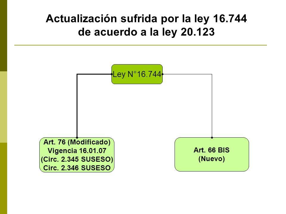 Actualización sufrida por la ley 16.744 de acuerdo a la ley 20.123 Ley N°16.744 Art. 76 (Modificado) Vigencia 16.01.07 (Circ. 2.345 SUSESO) Circ. 2.34