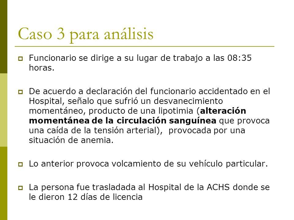 Caso 3 para análisis Funcionario se dirige a su lugar de trabajo a las 08:35 horas. De acuerdo a declaración del funcionario accidentado en el Hospita