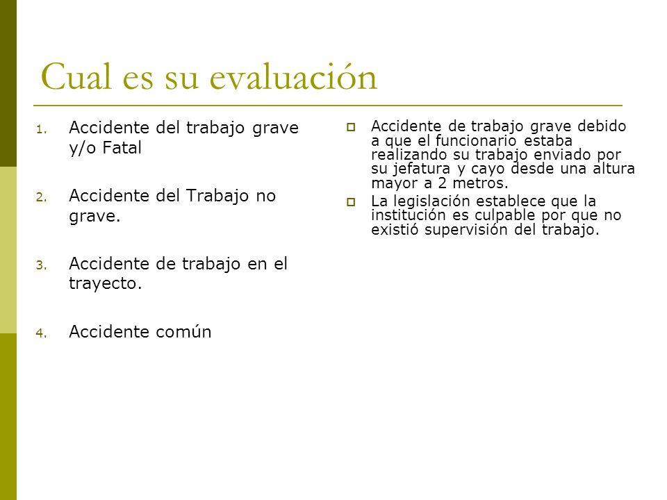 Cual es su evaluación 1. Accidente del trabajo grave y/o Fatal 2. Accidente del Trabajo no grave. 3. Accidente de trabajo en el trayecto. 4. Accidente