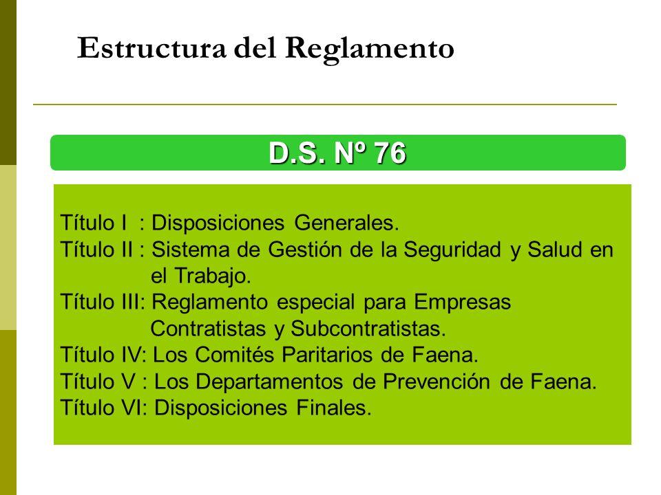 Estructura del Reglamento D.S. Nº 76 Título I : Disposiciones Generales. Título II : Sistema de Gestión de la Seguridad y Salud en el Trabajo. Título
