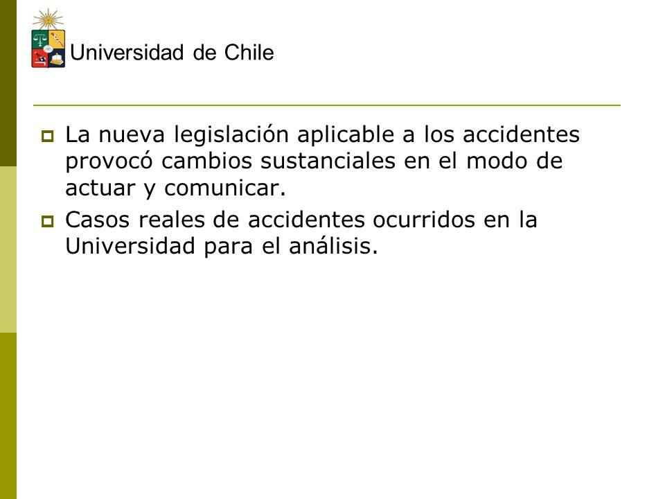 Universidad de Chile La nueva legislación aplicable a los accidentes provocó cambios sustanciales en el modo de actuar y comunicar. Casos reales de ac