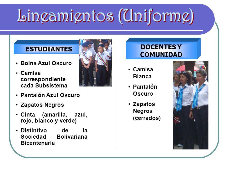 ESTUDIANTES DOCENTES Y COMUNIDAD Boina Azul Oscuro Camisa correspondiente a cada Subsistema Pantalón Azul Oscuro Zapatos Negros Cinta (amarilla, azul,