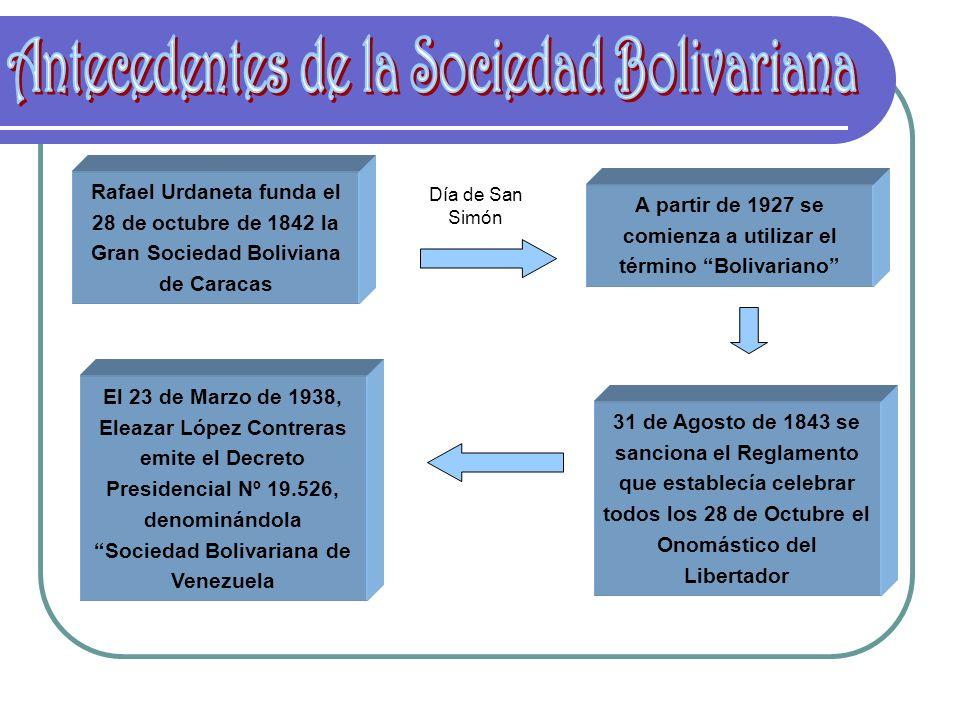 Rafael Urdaneta funda el 28 de octubre de 1842 la Gran Sociedad Boliviana de Caracas A partir de 1927 se comienza a utilizar el término Bolivariano Dí