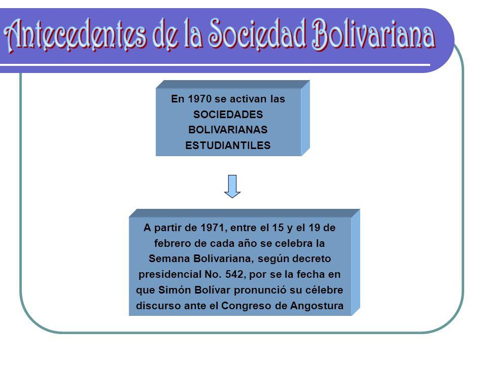 En 1970 se activan las SOCIEDADES BOLIVARIANAS ESTUDIANTILES A partir de 1971, entre el 15 y el 19 de febrero de cada año se celebra la Semana Bolivar