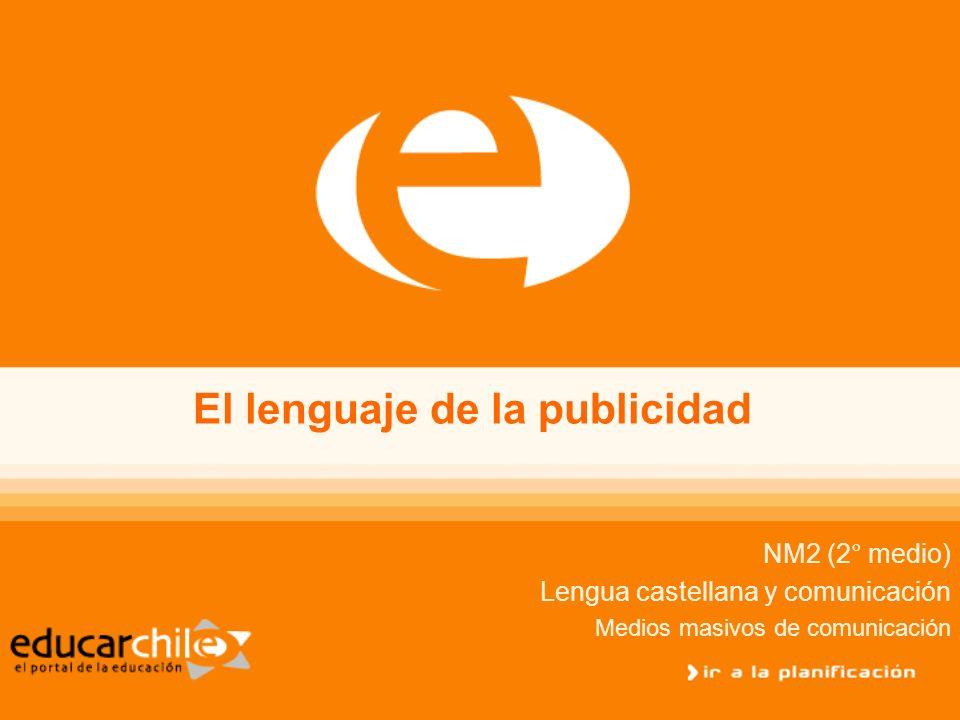 El Lenguaje de la Publicidad NM2 (2° medio) Lengua castellana y comunicación Lenguaje icónico El lenguaje icónico está referido a distintos elementos o herramientas con las que se compone la imagen de un aviso publicitario.