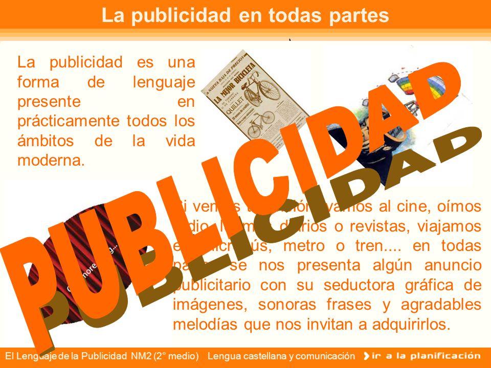 El Lenguaje de la Publicidad NM2 (2° medio) Lengua castellana y comunicación ÍNDICE La publicidad en todas partes Concepto de PUBLICIDAD Finalidad de la publicidad Componente verbal del discurso publicitario.