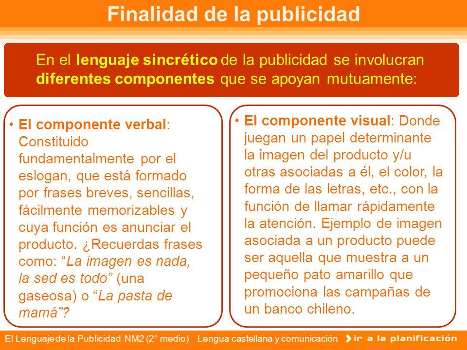 El Lenguaje de la Publicidad NM2 (2° medio) Lengua castellana y comunicación Finalidad de la publicidad El mensaje publicitario tiene el objetivo final el de persuadir a un potencial público consumidor.