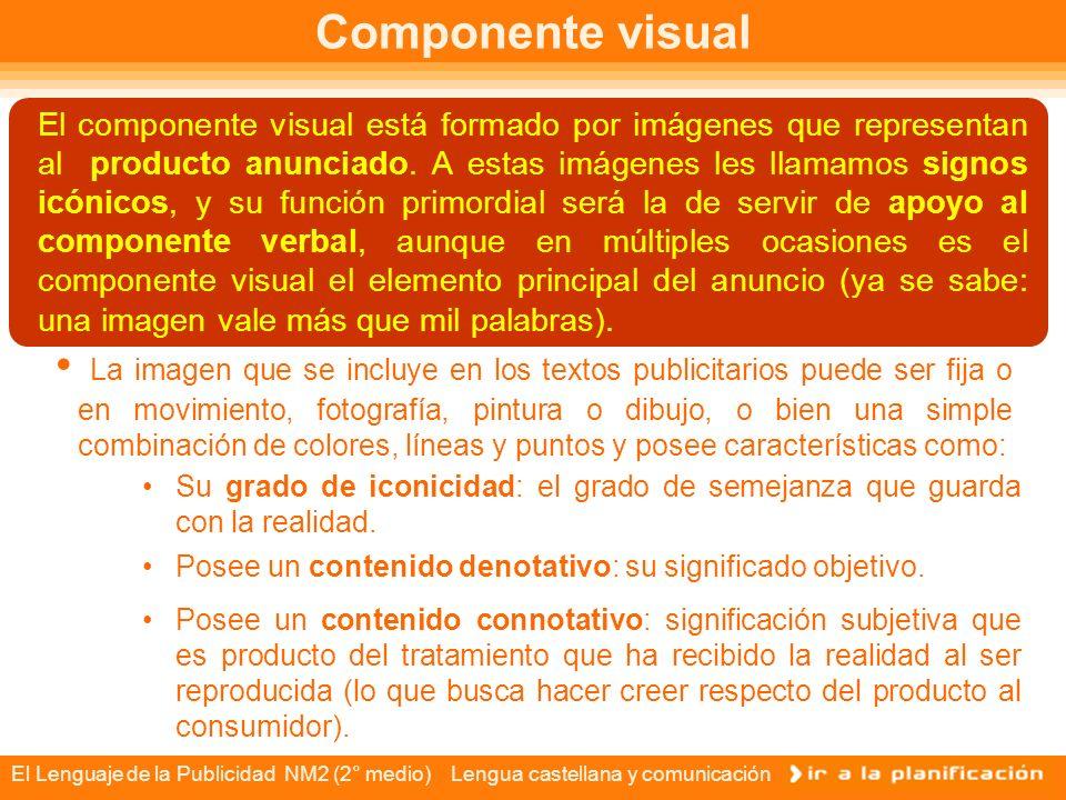 El Lenguaje de la Publicidad NM2 (2° medio) Lengua castellana y comunicación Componente visual El componente visual está formado por imágenes que representan al producto anunciado.