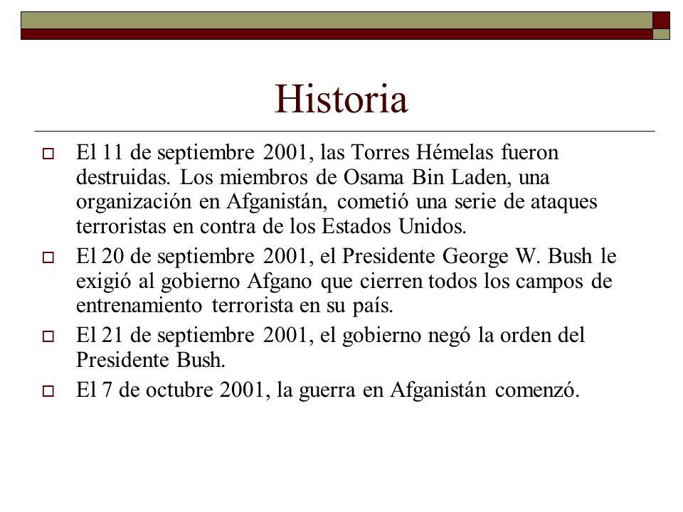 Historia El 11 de septiembre 2001, las Torres Hémelas fueron destruidas.