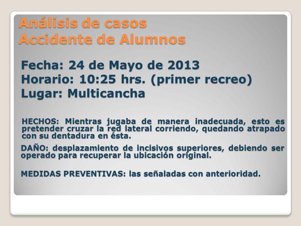 Análisis de casos Accidente de Alumnos Fecha: 24 de Mayo de 2013 Horario: 10:25 hrs. (primer recreo) Lugar: Multicancha HECHOS: Mientras jugaba de man