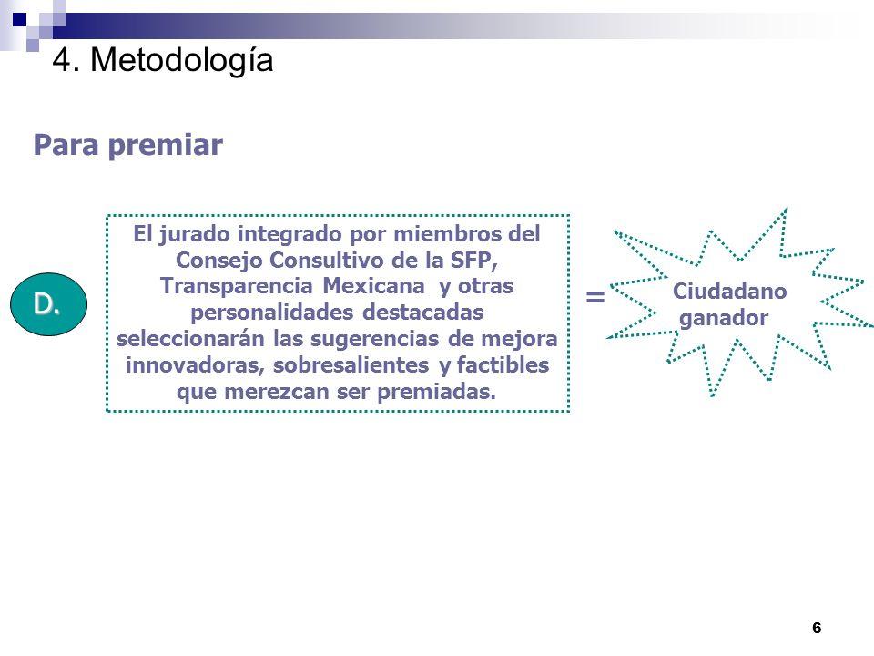 6 4. Metodología Para premiar D.