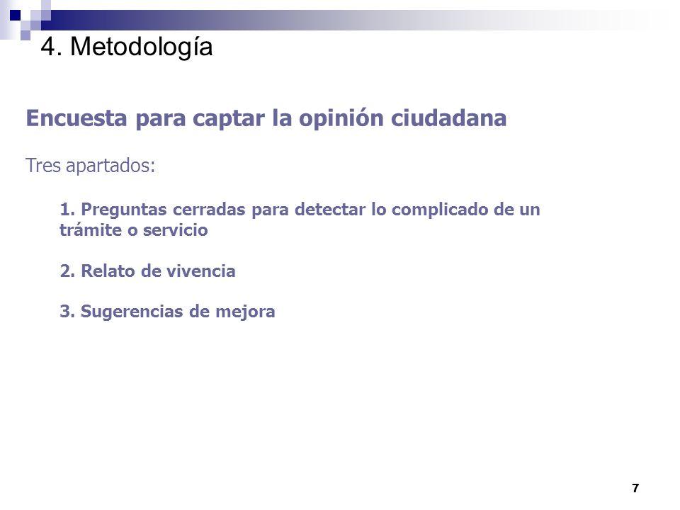 7 4. Metodología Encuesta para captar la opinión ciudadana Tres apartados: 1.